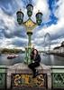 Street lamp on the Westminster Bridge (R.o.b.e.r.t.o.) Tags: lampionedelpontediwestminster francesca ritratto portrait londra london inghilterra regnounito england unitedkingdom cityoflondon skyline people nikond850 granbretagna greatbritain sky tamigi riverthames ruotapanoramica millenniumwheel ruotadelmillennio hungerford bridgelondon clouds nuvole cielo battello boat londoneye fiume nikkor1424