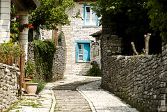 Monodendri (jimiliop) Tags: village greece traditional stone architecture blue windows path alley daylight beautiful epirus house