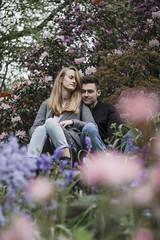 Couple portraits (Ruby Nixon) Tags: winterbourne house gardens birmingham uk west midlands ports portraits portraiture people person models model subject women woman man male female couples couple engagement shoot photoshoot boyfriend girlfriend boy girl natural outside garden flowers cherry blossoms blossom floral spring summer color colourful