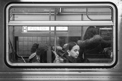 FULTON ST EXP (John St John Photography) Tags: streetphotography candidphotography mta newyorkcity newyork subway window youngwoman fultonstexp commuters peopleofnewyork bw blackandwhite blackwhite blackwhitephotos johnstjohn atrain