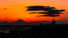 Mount Fuji under the burning sky (aotaro) Tags: burningsky lighthouse kanagawa sunset sal70300g jogashima jogashimaisland mountfuji mtfuji ilce7m3 fuji japan laea3
