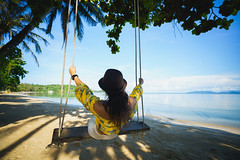 Female tourist swinging in cradle on tropical beach, Koh Mak Thailand (Patrick Foto ;)) Tags: beach beautiful bliss break cheerful coast cradle cruise enjoy enjoyment exotic female girl hammock happiness happy holiday hummock idyllic lady leisure lifestyle lonely lounge lying nature nice ocean palm paradise plage relax relaxation resort rest sand sea spring summer sun swing tourism tourist travel trip tropic tropical vacation view water white woman young tambonkohchangtai changwattrat thailand th