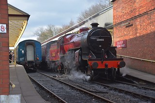 LMS Crab Locomotive No.13065 at Bury Bolton Street Station, about to take its firt train of the morning to Rawtenstal. East Lancs Railway.  31 03 2018