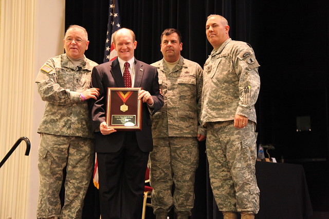 Senator Coons receives the National Guard's Charles Dick Medal of Merit - January 2013