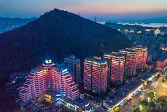 Cityscape At Night, Chun'an county,  Qiandao lake, Zhejiang China (Feng Wei Photography) Tags: night traveldestinations scenicsnature qiandaolake highangleview cityscape hangzhou china dusk zhejiang illuminated beautyinnature travel landscape chunan asia outdoors color tourism horizontal aerialview mountain cn