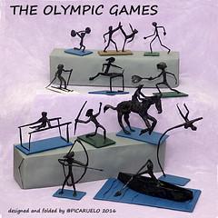 THE OLYMPIC GAMES (PICARUELO) Tags: origami papiroflexia crumpling arrugado deporte sport silk paper papel seda