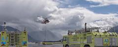 USCG Jayhawk 6015 lifting Oil Spill barrier exercise, and Fire Tenders 653 (Gillfoto) Tags: uscg mh60t jayhawk juneau alaska drill