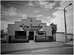 The Village Diner (JulieK (thanks for 7 million views)) Tags: campile bw wexford ireland irish blackandwhite monochrome thevillagediner takeaway fastfood burger kebab fishandchips building window sign fence door iphonese
