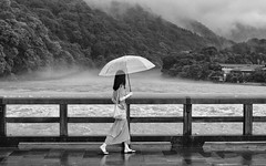 Kyoto Street (Andrew Allan Jpn) Tags: storm typhoon street streetfashion streetportrait pentaxart pentaxk3 da40xs travel river bridge blackandwhite monochrome umbrella mist candid da40 flickr pentaxflickraward happyplanet asiafavorites
