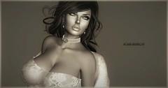 Bella Donna (Moxxie Kalinakova) Tags: monochrome sepia portrait brunette pearls fur tits breasts boobs kalinakova moxxie