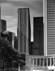 Unauthorized Prohibited Millennium Park.jpg (Milosh Kosanovich) Tags: millenniumpark chicagophotographicart caltarii150mm chicagophotoart 4x5viewcamera aonbuilding fujifilmacros100 chicago miloshkosanovich bwfilm mickchgo chicagophotographicartscom zonevifieldcamera trumptower