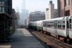 CTA Ravenswood train at Chicago Ave 8-27-90 (jsmatlak) Tags: chicago cta l elevated subway metro train electric railway rapid transit 6000