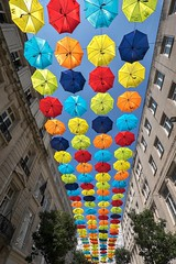 Look Up (f22photographie) Tags: umbrellas colourful streetart streetscene urban liverpoolcitycentre artwork schoolsproject adhd autism lookup lookingup umbrellaproject2018 sky churchalleyliverpool wideanglephotography zeisstouit12mmf28lens touit2812 octagon polygon