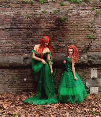 Cosplayer (jasmine_ravagli) Tags: girl woman cute cosplay dress expression comic art manga tuscany lucca models fashion wall costume red hair leaves beautiful italy