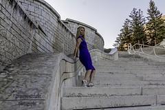 Rosie - half way down curvy. (gregoryscottclarke photography) Tags: rosanneneddo museumofcanadianhistory pink black blue boat stone stairs pathway summer hat