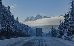 Winter Road (robertdownie) Tags: winter roadway frozen arctic cold snow icy truck icetruck mountains clouds canada jasper alberta bluesky crisp slippery mountainrange roadtransportation trees road