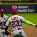 Marcell Ozuna Greets Tommy Pham St. Louis Cardinals vs. Milwaukee Brewers Miller Park Milwaukee Wisconsin 4-3-18  0815