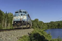Job 1 at Moose Bay (Thomas Coulombe) Tags: centralmainequebec cmq job1 emdsd402f gmdsd402f freighttrain train moosebay mooseheadsub maine greenville