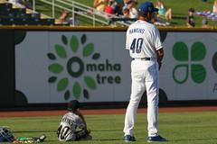 Big Hawkins, little Hawkins (Minda Haas Kuhlmann) Tags: sports baseball milb minorleaguebaseball pacificcoastleague omahastormchasers nebraska omaha outdoors andyhawkins