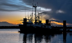 Fisherman's sky (Christie : Colour & Light Collection) Tags: fishboats sundown reflection reflections river evening eveninglight fishingvillage boats moored moor mooring mood atmosphere silhouette stevestonfishingvillage fishing bc canada nikon outdoors night dusk twilight breakwater fraserriver richmond thanksforvisiting fisherman fish clouds cloudy light