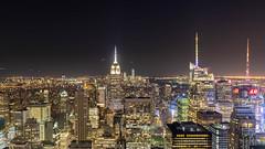 Masts of Manhattan (johnkaysleftleg) Tags: newyork manhattan usa empirestatebuilding topoftherock rockerfellercenter night cityscape urban landscape citylights