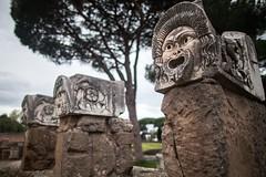 悲喜人间 (nzfisher) Tags: rome ostiaantica remains mask comedy theatrical theatre sculpture roma italy travel holiday 24mm canon face bokeh