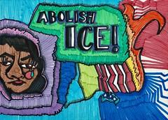 ABOLISH ICE (jillian rain snyder) Tags: america lines cry tear woman color politicalart art politics markers illustration