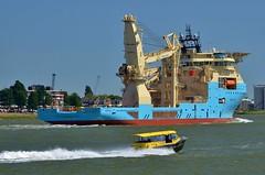 Maersk Involver en Watertaxi (Hugo Sluimer) Tags: portofrotterdam port haven nlrtm onzehaven rotterdam zuidholland holland nederland