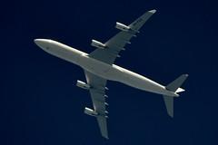 Hi Fly Malta Airbus A340 9H-FOX (stephenjones6) Tags: blue jet civil aviation hi fly malta airbus a340 a340300 msn185 9hfox a340313 ott highaltitude extremespotting nikon d3200 skywatcher telescope dobsonian