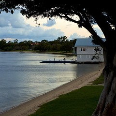 Boat House Twilight (Padmacara) Tags: australia crawley river tree building boat sand square nikkor50mmf18d d610