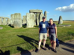 Me and Edita at Stonehenge (markhorrell) Tags: britain walking stonehenge wiltshire antiquities