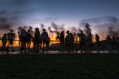 Finally, A Crowd (cmctaggs) Tags: griffith observatory sunset hollywood hills sun set landscape nikon d7100 sky night bw black white twins girls candid street photography amateur hobby famous people star walk color vibrant pretty picture dogs golden hour