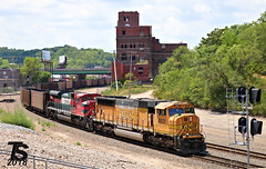 BNSF 8831 Leads Empty Coal Drag KCMO 7-15-18 (KansasScanner) Tags: bnsf up fxe mopac 1982 up1982 sd70mac kansascity kansas edwardsville bonnersprings loring train railroad railfanning railfan