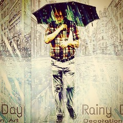 Rainy Day  Decoration Art  雨の街を一人り歩く男を、編集加工しました。 (nodasanta) Tags: instagramapp square squareformat iphoneography uploaded:by=instagram earlybird