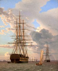 """Christoffer Wilhelm Eckersberg – Statens Museum for Kunst KMS608. The Russian Ship of the Line """"Asow"""" and a Frigate at Anchor near Elsinore (1828) (lack of imagination) Tags: 45005000 blog christofferwilhelmeckersberg people seascape ships statensmuseumforkunst"""