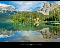 Emerald Lake in Yoho National Park, British Columbia, Canada (Ann Badjura Photography) Tags: emeraldlake emeraldlakelodge britishcolumbia canada canadianrockies ctvphotos photonewsgallery mountburgess canoe rockies yohonationalpark yoho cilantrocafe scenery landscape reflections mountains photography annbadjura pnw discoverpnw pacificnorthwest westcanada iamcanadian canadianbeauty