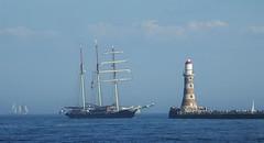 Gulden Leeuw and Roker Lighthouse (Gilli8888) Tags: tallships sunderland tyneandwear wearside coast coastal ship sailingships seaburn guldenleeuw mast sails sailingvessel vessel northsea