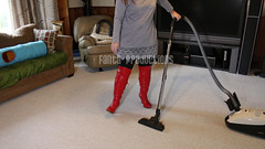 Vacuuming in Red OTK Boots (Fanta_Productions) Tags: boots bootfetish otkboots overthekneeboots tallboots girlswearingboots redboots leather leatherleggings vacuuming vacuumingfetish videoscreenshot scarletwinters fantaproductions
