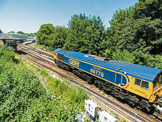 Class 66 66778 DARIUS CHESKIN entering Lewes with the late running 6Y91 Newhaven Days Aggregates to Grain Foster Yeaoman 28th June 2018