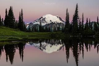 Mount Rainier Alpenglow at Tipsoo Lake