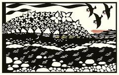 Japanese dogwood and barn swallow (Japanese Flower and Bird Art) Tags: flower dogwood cornus kousa cornaceae bird barn swallow hirundo rustica hirundinidae kyoko yanagisawa modern screenprint print japan japanese art readercollection