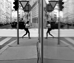 Twins (CoolMcFlash) Tags: street streetphotography bnw blackandwhite bw person candid reflection window vienna twins fujifilm x30 strase spiegelung fenster sw schwarzweis monochrome wien fotografie photography flickrfriday woman frau