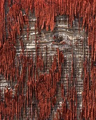 very weathered paint and wood (queue_queue) Tags: decay paint walls red abstract wood weathered