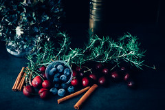 Berries and Cherries (Tim Harwick) Tags: light available sun walk flare nature back lit natural vsco canon 30d dslr sierramadre food darkfoodphotography dark darkfood red blue home homeiswheretheheartis makingahometogether foodphotography cherry blueberry