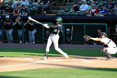 BASE HIT (MIKECNY) Tags: baseball hit batter hitter swing vermontlakemonsters tricityvalleycats astros as minorleague nypennleague jamesonhannah