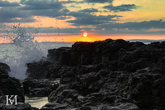 Sunset over the Rock Pool in Rest Bay, Porthcawl, Wales (kylemarham) Tags: rocks wales cymru bridgend porthcawl light dark beach sea water