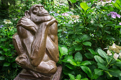 The Thinker (BenBuildsLego) Tags: sculpture statue beautiful art artist fine bronze monkey ape thinker flowers green brookgreen gardens south carolina
