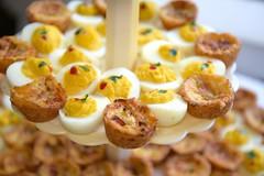 Stuffed eggs and mini quiche (*Amanda Richards) Tags: edible food treats birthday party menu stuffedeggs quiche miniquiche
