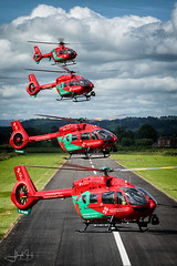 Four Dragons (lloydh.co.uk) Tags: air ambulance helicopter wales welsh welshpool h145 ec135 airbus formation flying flight airbushelicopters airbush145 ec135aviationaviation photographyaviation photographerwelshpool airportwales ambulancewelsh hems uk helimed emergency care medical