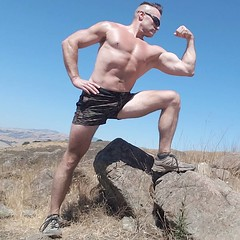nature flex (ddman_70) Tags: shirtless pecs abs muscle flexing biceps hiking nature outdoors shortshorts
